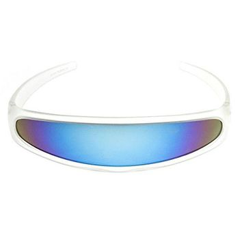 zeroUV - Futuristic Narrow Cyclops Color Mirrored Lens Visor Sunglasses (Frost Ice)
