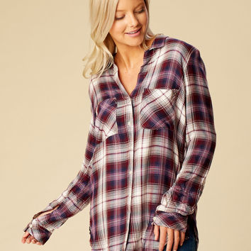 Altar'd State Hillstone Plaid Top - Long Sleeve - Tops - Apparel