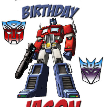 Personalized Custom Birthday T-shirt Optimus Prime Transformers #