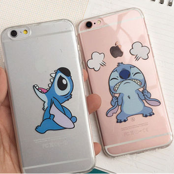 Funny  Emoji cute cartoon Stitch Transparent  Plastic Coque Funda For Capa Para Cover Case for iPhone SE 5 5S 6 6S 6Plus 7 7Plus