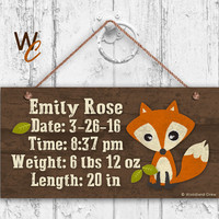 "Baby Birth Stats Wood Sign, Woodland FOX Personalized Sign, Baby Shower Gift, Remember Child's Birth, Baby Nursery  5"" x 10"" Sign"
