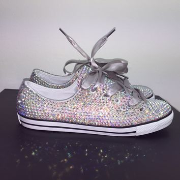 Dainty All Star Converse With Double AB Crystals & Silver Laces