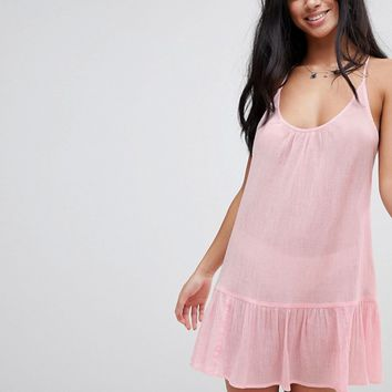 ASOS DESIGN PETITE T Back Tiered Beach Sundress at asos.com