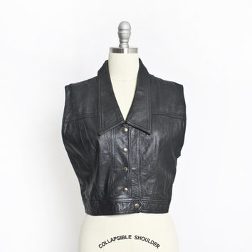 Vintage 1960s Vest - Black Italian Leather Cropped Mod Biker Top 1960s - Large
