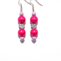Hot pink with heart earrings