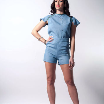 Jean romper, summer playsuit, open back romper,
