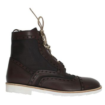 Dolce & Gabbana Brown Leather Above Ankle Tall Boots