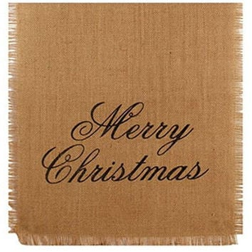 36 in. Merry Christmas Holiday Decor Burlap Runner (13-in x 36-in)