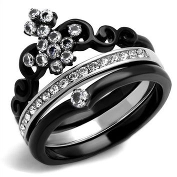 Black Stainless Steel Crown CZ Wedding Ring Set