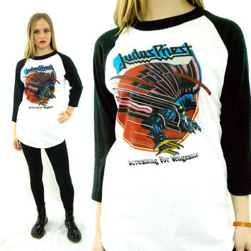 Vintage 80s JUDAS PRIEST Screaming For Vengeance Raglan 3/4 Sleeve Jersey 50/50 T Shirt Sz L