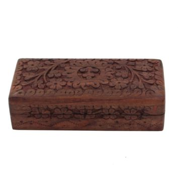 KayJayStyles Hand Carved Tree Of Life Wooden Storage Box (Small, Tree Of Life)