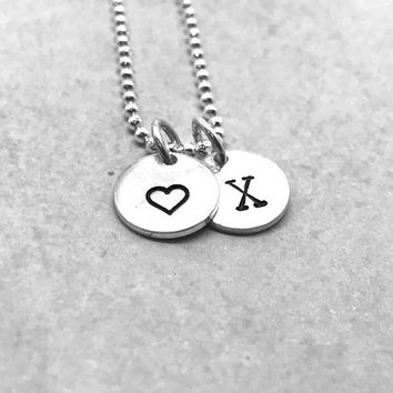 X Initial Necklace with Heart Charm, Sterling Silver, All Letters Available, Letter X Necklace, Hand Stamped Jewelry, Heart Necklace