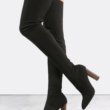 Cylinder Stacked Heel Thigh High Boots BLACK | MakeMeChic.COM