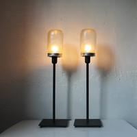 2 FROSTED Mason Jar Desk or Table Lamps - Upcycled Lighting Fixtures - Minimalist Modern Industrial Home Decor by BootsNGus set of two