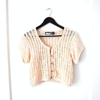 oatmeal MESH button up crop top early 90s vintage neutral knit CROPPED oversized boho blouse large