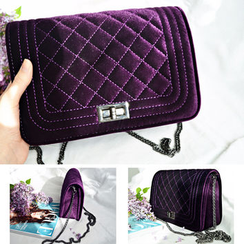 LALA IKAI Small Quilted Chain Bag Women's Handbags Clutches Fashion Velour Flap Messenger Bag Women Ladies Shoulder Bag BWB136