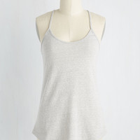 Peace and Kayak Tank Top in Dove   Mod Retro Vintage Short Sleeve Shirts   ModCloth.com