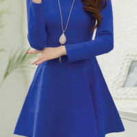 Sapphire Blue Long Sleeve Skater Dress