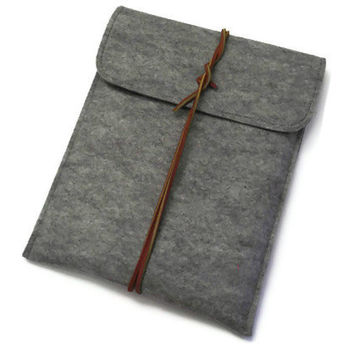 iPad Sleeve- iPad Case- iPad Cover- iPad2, iPad3- iPad 4- Grey  Wool Felt -Closure with Genuine Leather Cord