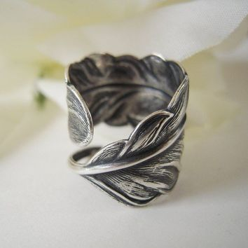 Cyber Monday Etsy- 20% Off Sale- Steampunk Angel Feather Ring- Sterling Silver Finish- Adjustable- Feather Ring