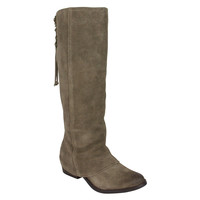 Tall Tie Back Boot-Taupe
