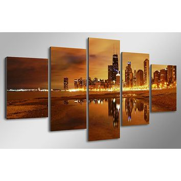 5 piece pcs cityscape sunset Chicago evening wall art on canvas panel print