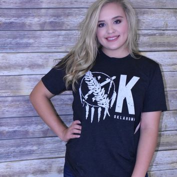 OK Shield Oklahoma Calamity Jane women's Charcoal canvas t-shirt
