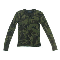 Lauren Ralph Lauren Womens Cotton Camouflage Henley Top