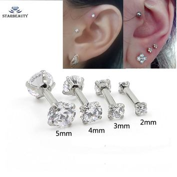 1Pc Double Round Zircon Tragus Earring 2-5mm Zircon Anodized Internally Threaded Prong Gem Monroe 16G Tragus Helix Ear Piercing