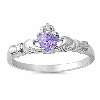 Sterling Silver CZ Simulated Lavender Amethyst Claddagh Ring