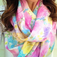 Pretty in Pastel Floral Infinity Scarf