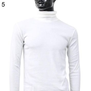 Men Fashion Winter Warm Polo Turtleneck Sweater Solid Color Pullover Slim Cotton Long Sleeve Knitted Sweater Jumper Top