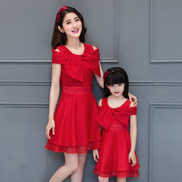 2016 summer new Korean fashion princess dress  Bow Family Matching Outfits mother daughter dresses baby girl clothes