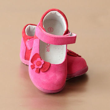 L'Amour Girls Nubuck Bow Mary Jane