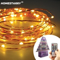 Homestarry Waterproof Decorative Outdoor String Lights, 20 Ft 120 LED Dimmable Starry Lights, Wedding lights, Fairy Lighting for bedroom, Home, Party, Christmas tree, Commercial Use(Warm white ,Remote control)