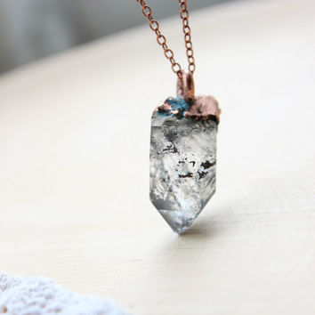 Electroformed herkimer diamond pendant. Herkimer diamond. Natural stone. Crystal. Boho. Unique gift.