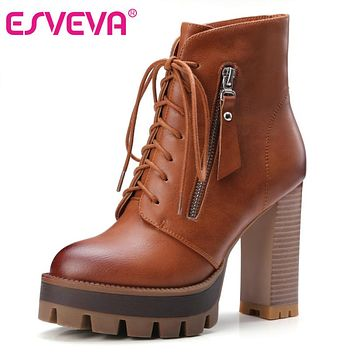 ESVEVA 2017 Lace Up Western Style Women Boots Platform PU Autumn Shoes Thick High Heel Winter Shoes Lady Ankle Boots Size 34-42