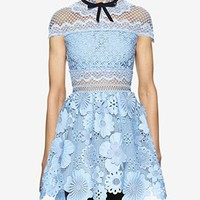 Light Blue 3D Flower Cut Out Lace Mini Dress