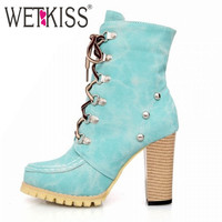 WETKISS Rivets Punk Style Gladiator Boots for Women Lace Up High Spike Heels Boots Ankle Boots Thick Heels Knight Boots Woman