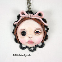 RESERVED for Shey Original Cameo Sculpture Pink Bow Girl Necklace Pop Surrealism