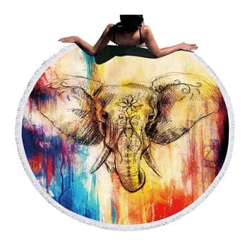 BeddingOutlet Microfiber Round Beach Towel Tassel Tapestry 150cm Yoga Mat Watercolor Elephant Summer Yoga Towel Toalla Blanket
