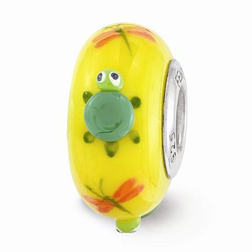 Fenton Yellow Hand Painted Turtle Glass & Sterling Silver Charm