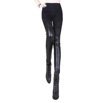 2014 autumn and winter women lace pants patchwork leather pants velvet legging skinny pants trousers lace leather trousers