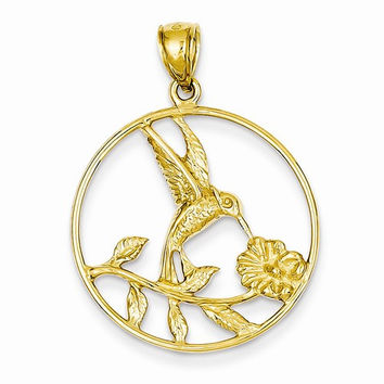 14k Yellow Gold Hummingbird in Frame Pendant