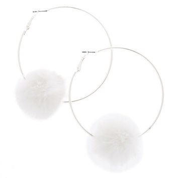 70MM Pom Hoop Earrings - White