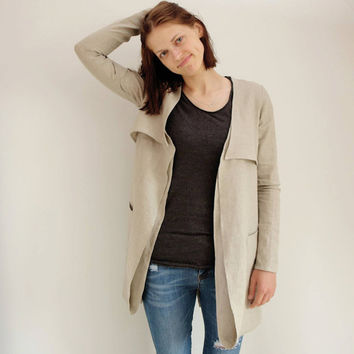Linen summer jacket Linen summer clothing Linen beach clothing Natural linen clothing Womens linen clothing M7 Natural gray jacket CWN