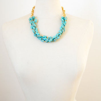 Turquoise and gold statement necklace, Vintage resin, boho chic necklace, boho chic jewelry