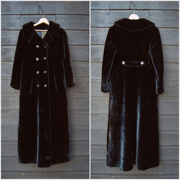 Vintage Faux Fur Coat, Glensea North Bay 60s 70s Long Black Faux fur Jacket, Double Breasted Fur Trench Coat, Full Length Maxi Coat, SM MED