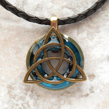 triquetra necklace: blue - mens jewelry - trinity knot - celtic jewelry - leather necklace - unique jewelry - boyfriend gift - mens necklace