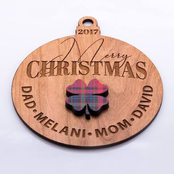 P Lab Personalized Ornaments for Christmas Tree Size: 4.8 inches wide, Christmas Ornaments, Names Ornament, Engraved Wooden Ornament #4